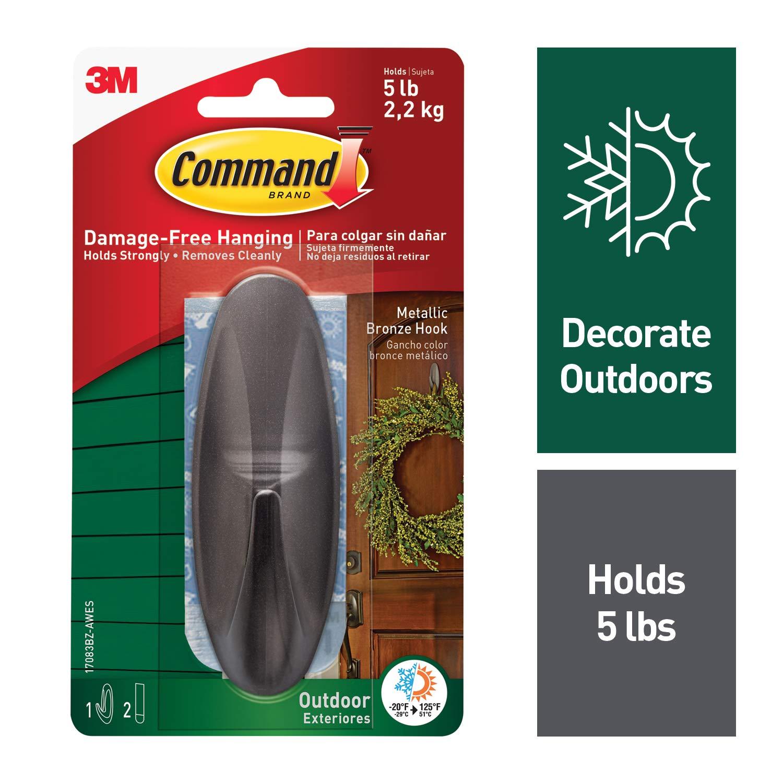 Command Outdoor Designer Hook Large Metallic Bronze 1 Hook 17083BZ AWES