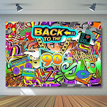 Comophoto 90s Party Hip Hop Graffiti Style Portrait Backdrop Retro 90th Birthday Theme Party Decoration Background 7x5ft Photo Backdrops For