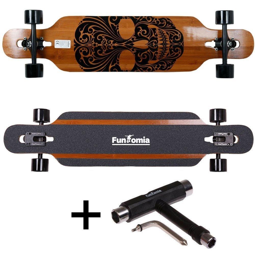 Tabla de skate FunTomia®, longboard, incluye llave en forma de T para rodamientos Mach1® ABEC-11 de gran velocidad, Modell Freerider Bambus Fiberglas2 ...