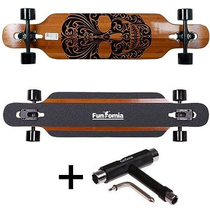 Tabla de skate FunTomia®, longboard, incluye llave en forma de T para rodamientos
