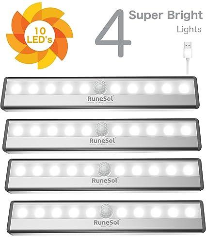 RuneSol Lámpara Recargable con Sensor De Movimiento 4 Barras De Iluminación con 10 Luces LED/