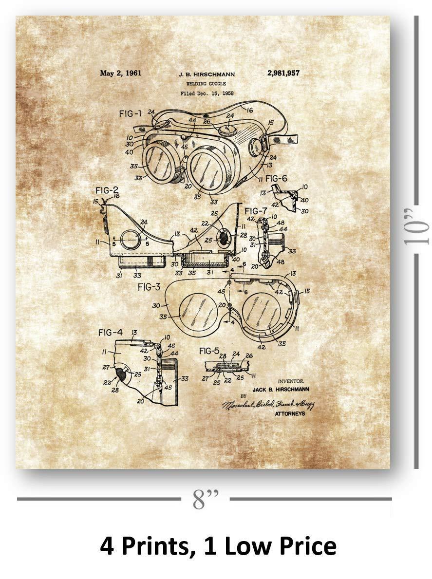 Set of 4 8 x 10 Unframed Patent Prints Great Gift for Welders Helmet Artwork Welding Goggles Mask Mancaves or Shop Decor Decorative Handmade Prints