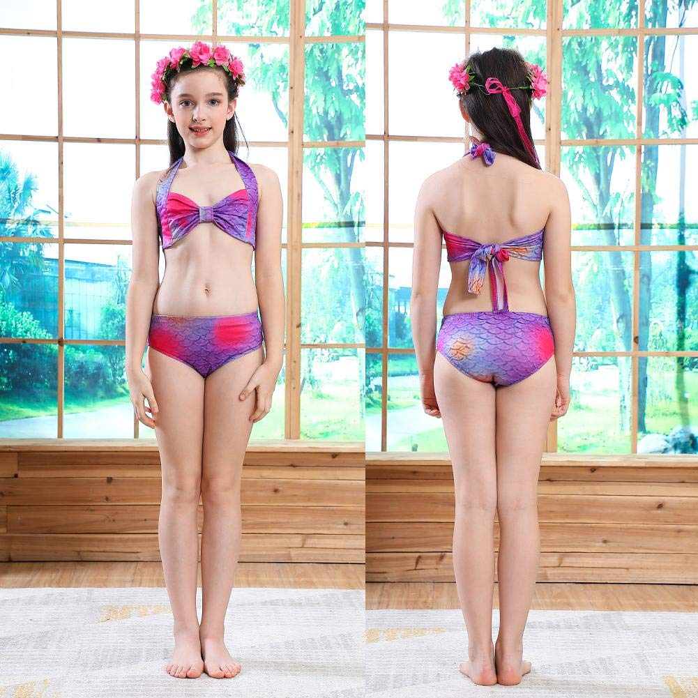 Occitop 5pcs Girls Colorful Fish Scales Swimsuit Kids Princess Holiday Bikini Set