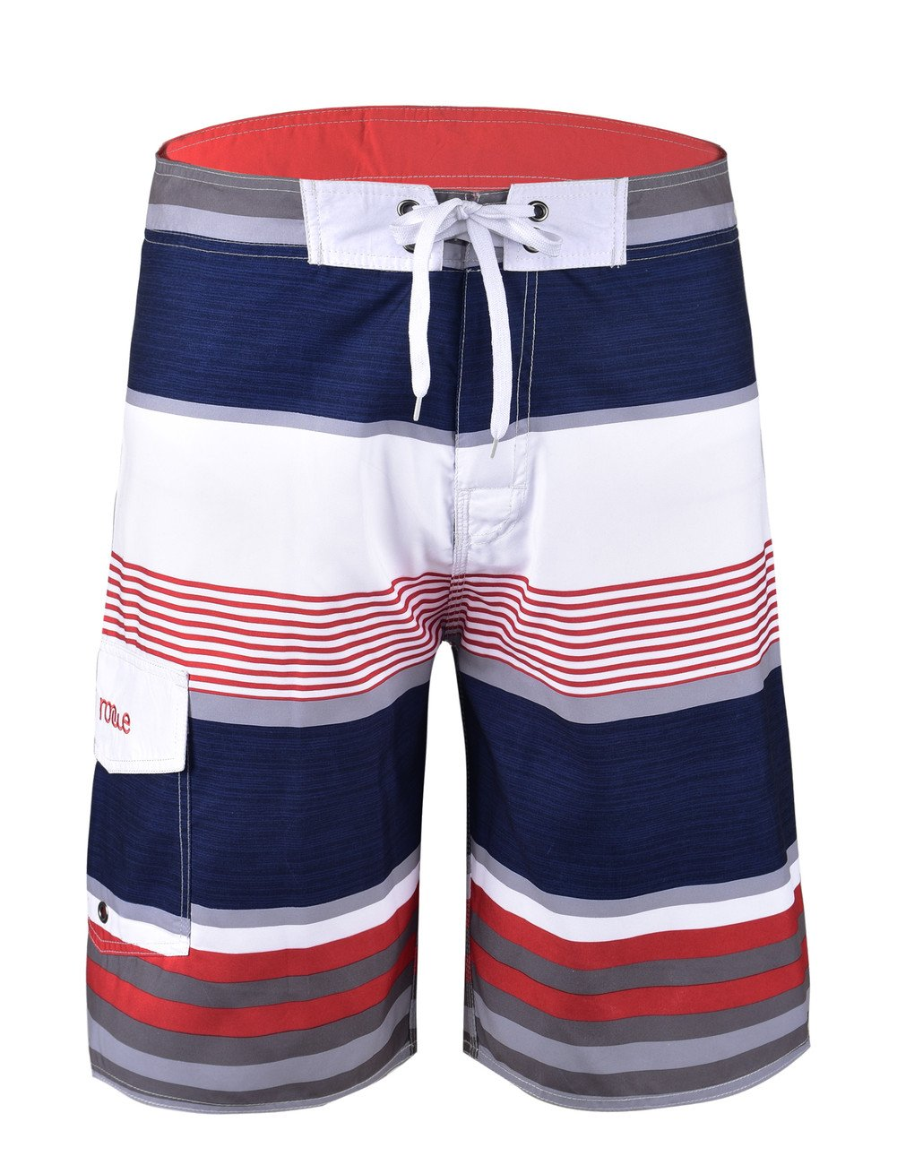 NONWE Men's Tropical Stripe Beach Shorts Swim Trunks with Mesh Lining Red Striped with White 38