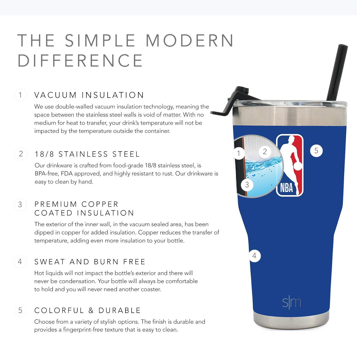 9e509c82521 Amazon.com: Simple Modern NBA & NCAA 30oz Cruiser Tumblers with Closing Lid  and Straw - 18/8 Stainless Steel Vacuum Insulated Travel Mug: Sports &  Outdoors