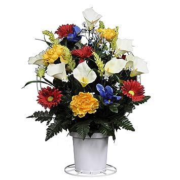 Amazon Sympathy Silks Artificial Cemetery Flowers Basket Red