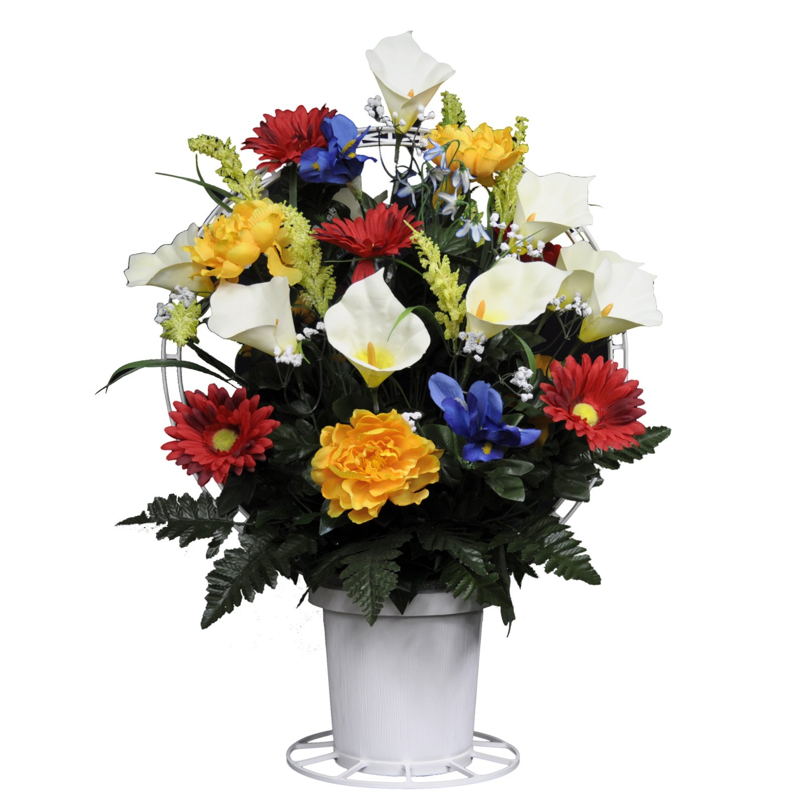 Sympathy-Silks-Artificial-Cemetery-Flowers-Basket–Red-Yellow-Blue-and-White-Mix-of-Silk-Fake-Flowers-for-Outdoor-Grave-Decorations-Non-Bleed-Colors-USA-Made