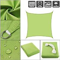 JYQcatd Sun Shade Sail, Rectangle Sun Shade Sail Canopy 300D 160GSM Polyester Oxford 90% UV Block Permeable Fabric Durable Outdoor Patio Garden (Green),7x10ft