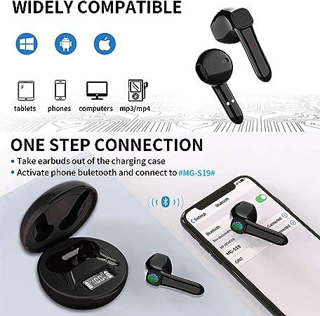 Auriculares Inalambricos Auriculare Bluetooth 5.0, IPX7 Cascos Bluetooth Deportivos, Touch Control, TWS Deep Bass, CVC 8.0 Reducción de Ruido, ...