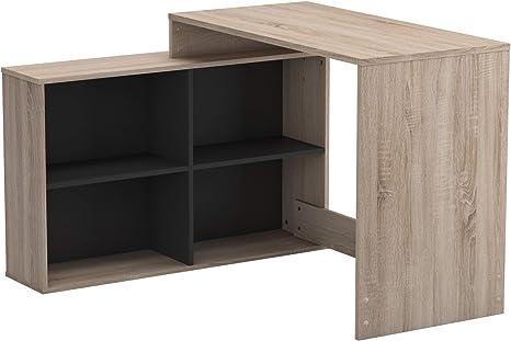 Demeyere D Angle Style Moderne Meuble Multi Usages Rangement Et Bureau Collection Corner Chene Brosse Noir Mat 111 9 Cm X 100 7 Cm X 76 7 Cm Amazon Fr Cuisine Maison
