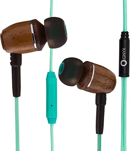 Onyx ELO Premium Genuine Wood in-Ear Noise-isolating Headphones Earbuds Earphones with Microphone Turquoise Blue