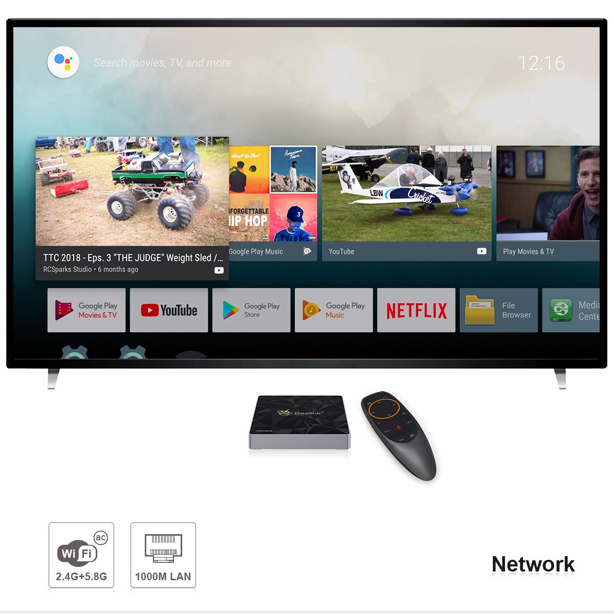 Mini Android,Beelink GT1-A TV Box,Netflix Soutien,Google Certifi/ée,Android 7.1,RAM 3Go+ROM 32Go,Processeur Amlogic S-912 Octa Core Arm Cortex-A53,WiFi 2.4G//5.8G 1000Mbps,3D,4K,H.265,OTG,Couleur Noire
