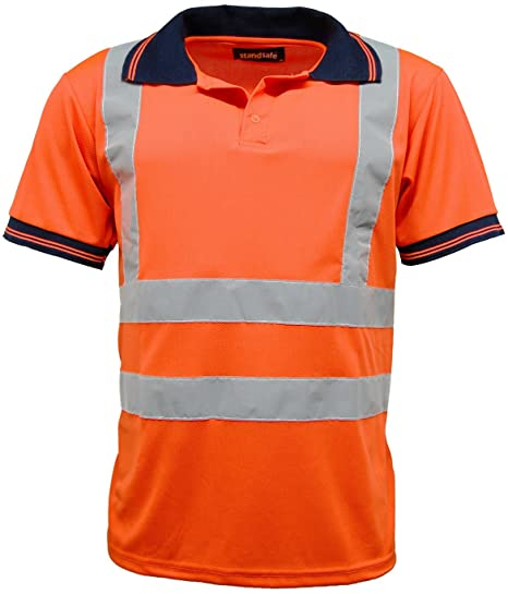 Standsafe Mens Hi Vis Hi Visibility Safety Work Polo Shirt Short