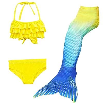Abroda Girls Swimmable Mermaid Tail Bikini Bathing Swimsuit 3 Pcs