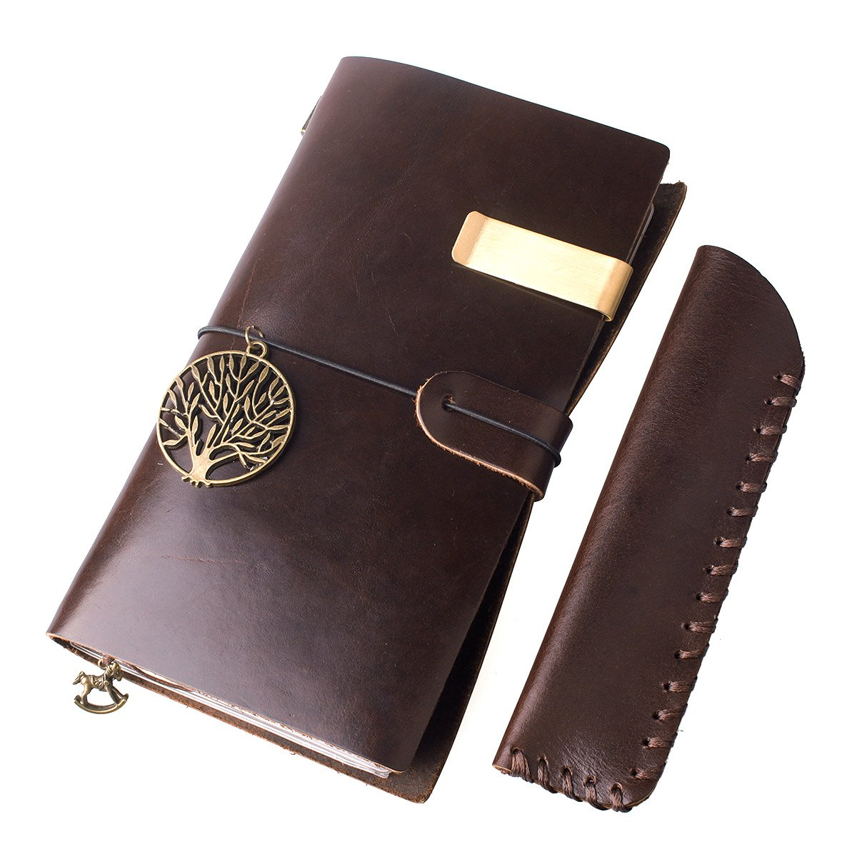 AYOUYA Leather Journal Writing Notebook Made of Classic Genuine Leather, Writing Journal Diary, Leather Bound Journal 7 x 4 x 0.7 Inches with Mini Pencil Case 6 x 1.5 Inches, Brown