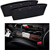 2 Set PU Leather Car Pocket Organizer Seat Console Gap Filler Side - Stop Before it Drops ( Black )