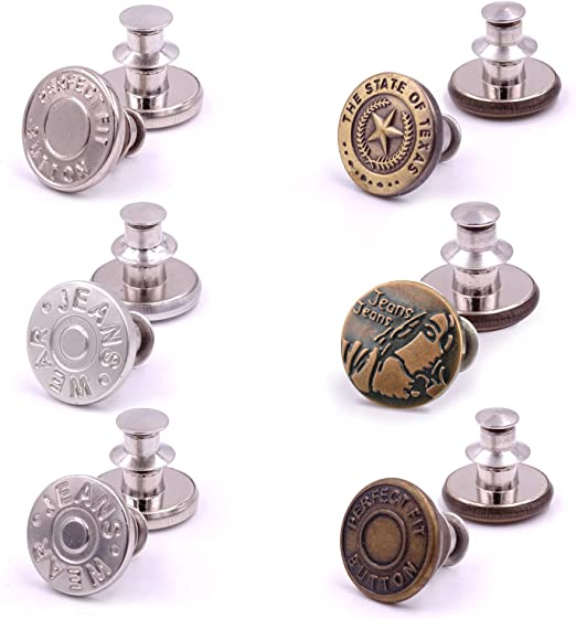 willikiva 6Pcs Instant Buttons Adjustable Jean Button No Sew Metal Button Adds Or Reduces an Inch to Any Pants Waist in Seconds(Z063)