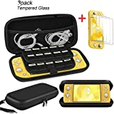 Cmore for Nintendo Switch Lite Case/Accessories with [3 Packs] Screen protectors/20 Game Card Holders/Storage, Ultra Slim Carrying Case PU Leather Portable Hard Shell Travel Game Bag (Black)