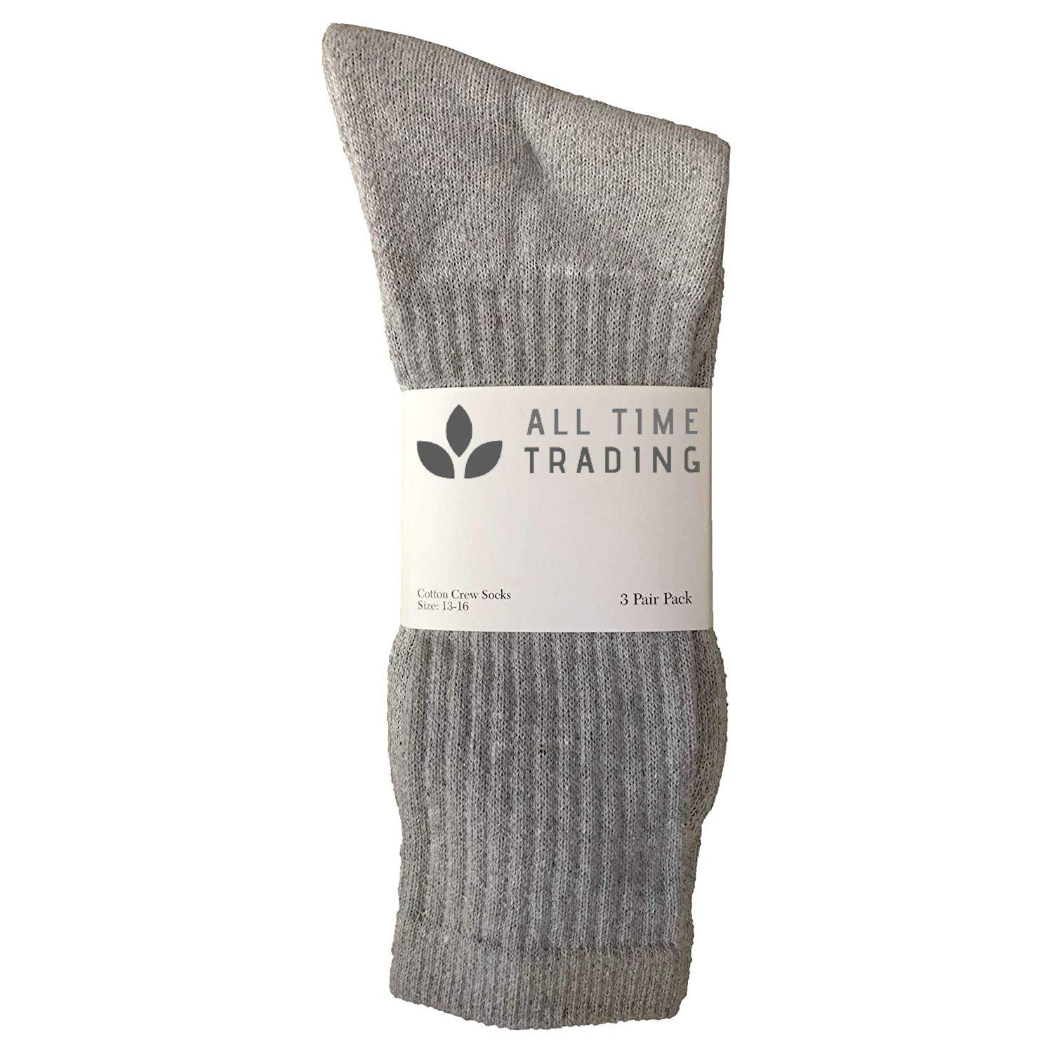 Men's King Size Cotton Crew Sock Plus Size Athletic Socks Men 13-16 Gray 120 pc by All Time Trading (Image #2)