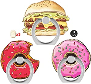 ZOEAST(TM) 3 Pack Phone Ring Grip Doughnut Macaroon Food Universal 360° Adjustable Holder Car Desk Hook Stand Stent Mount Kickstand Compatible with iPhone X Plus Samsung iPad Tablet (Donuts Hamburg)