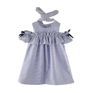 dae522f5f42f7 Oyedens 5 à 14 Ans Mode Vetement Bebe Fille Ete Robe de Princesse Fille  Printemps Casual