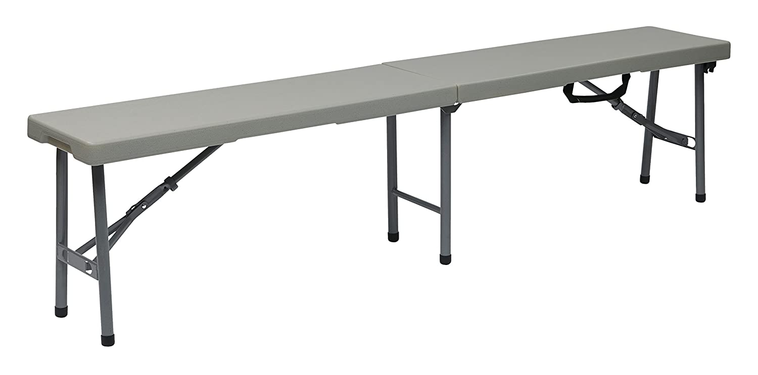 Office Star PC-15F Resin Multi-Purpose Center Folding Bench, 6-Feet Long, White