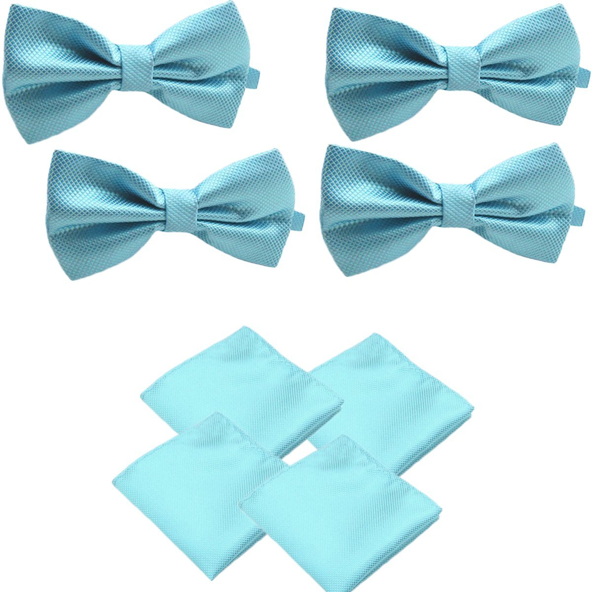 Turquoise Blue, 3 Solid Matching Pre-Tied Bow Tie and Pocket Square Sets for Formal Events