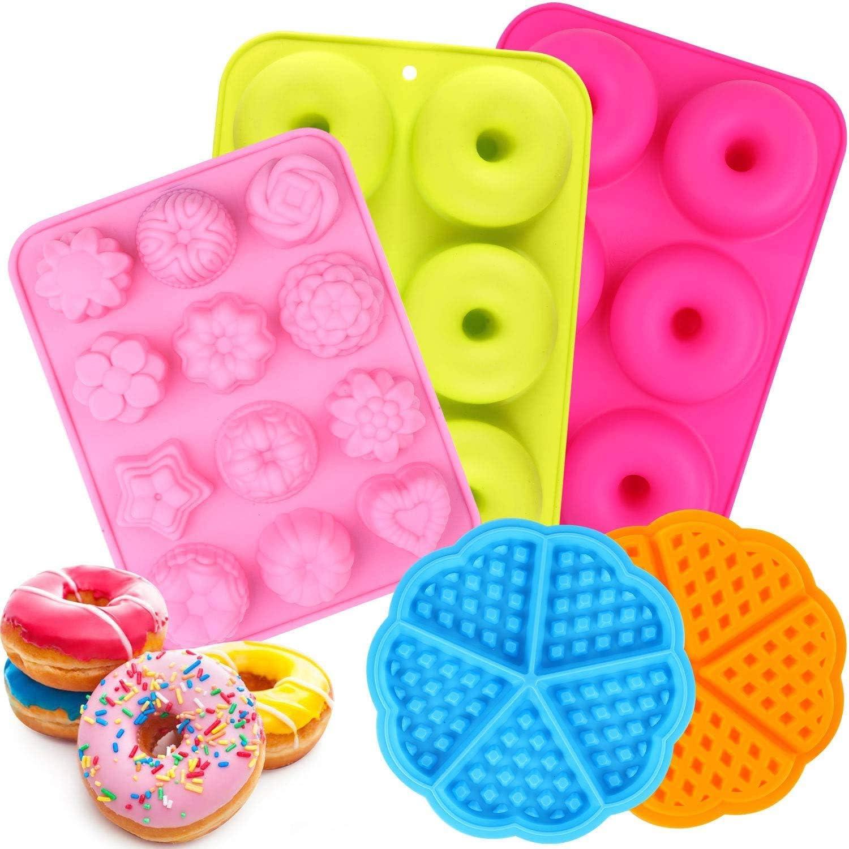 ESHUNQI Moldes de Silicona Donut, 5pcs Juego de Molde de Silicona Donut/Molde de Pastel de gofres Y moldes para Hornear Pasteles de Varias Formas