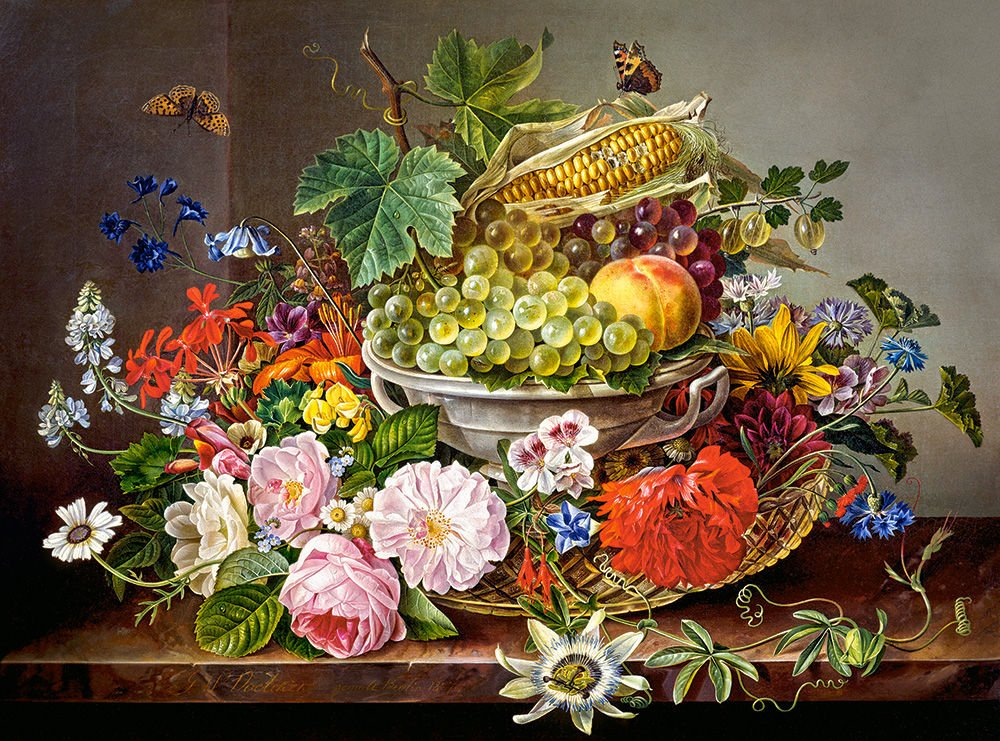 Castorland Puzzle Still Life with Flowers and Fruit Basket 2000 Pieces
