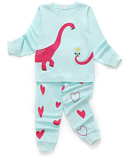 2cd29c9b79 DHASIUE Dinosaur Kids   Toddler 2 Piece Cotton Pajamas Sets Girls Long  Sleeve Pjs Set Children