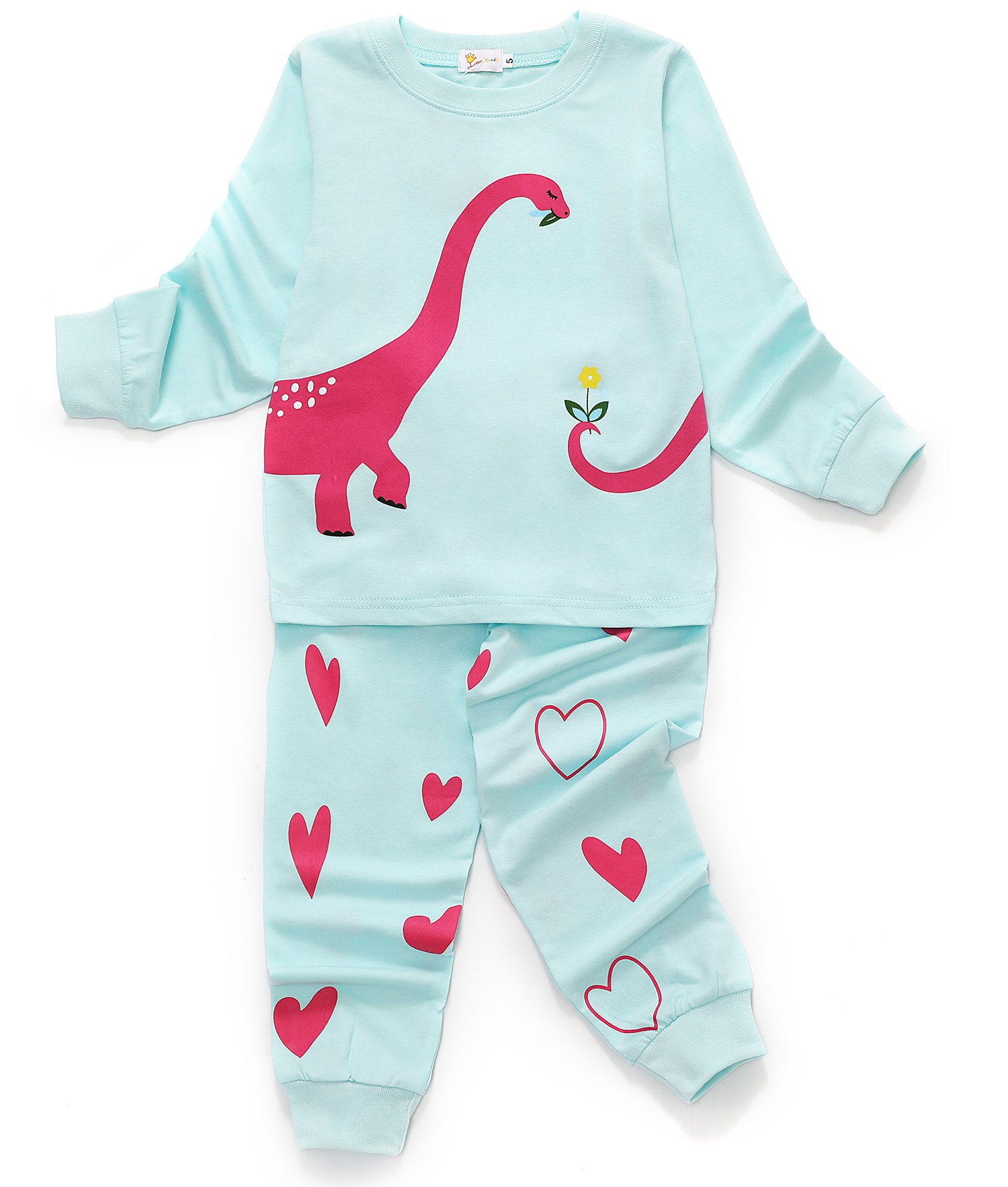 Dhasiue Dinosaur Kids & Toddler 2 Piece Cotton Pajamas Sets Girls Long Sleeve Pjs Set Children Sleepwear 3-4 Years