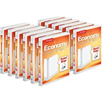 """Cardinal Economy 3-Ring Binders, 5/8"""" Round Rings, Holds 125 Sheets, ClearVue Presentation View, Non-Stick, White…"""