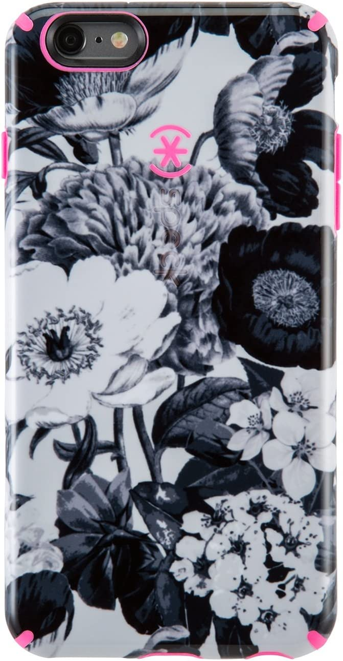 Speck Products CandyShell Inked Case for iPhone 6 Plus/6S Plus -Retail Packaging- Vintage Bouquet Grey/Shocking Pink