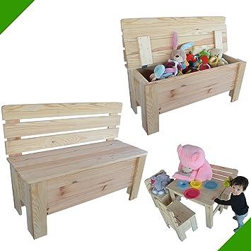 Banco infantil de madera maciza de pino para jardín: Amazon.es: Bricolaje y herramientas