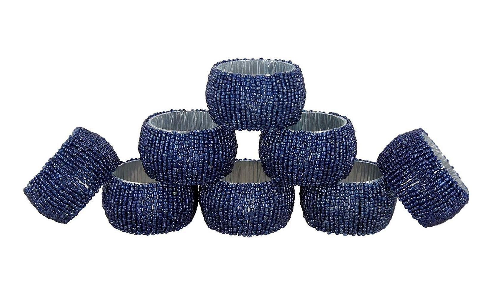 ShalinIndia Napkin Ring Pack of 8 Christmas Table Decoration Ideas - Glass Beaded Decorative Round Blue Textured Napkin Tissue Holder for Party