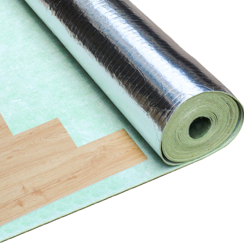 Uyoyous Vapor Barrier Flooring Underlayment 2mm Quiet Flooring Underlayment Roll 109 Sqft 3 In 1 Floor Underlayment Padding For Vinyl Wood Engineered Floor Amazon Com