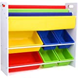 HOMFA Toy Storage Unit With 3 Tier Bookcase And 6 Toy Storage Bins For Kids  Multicolor