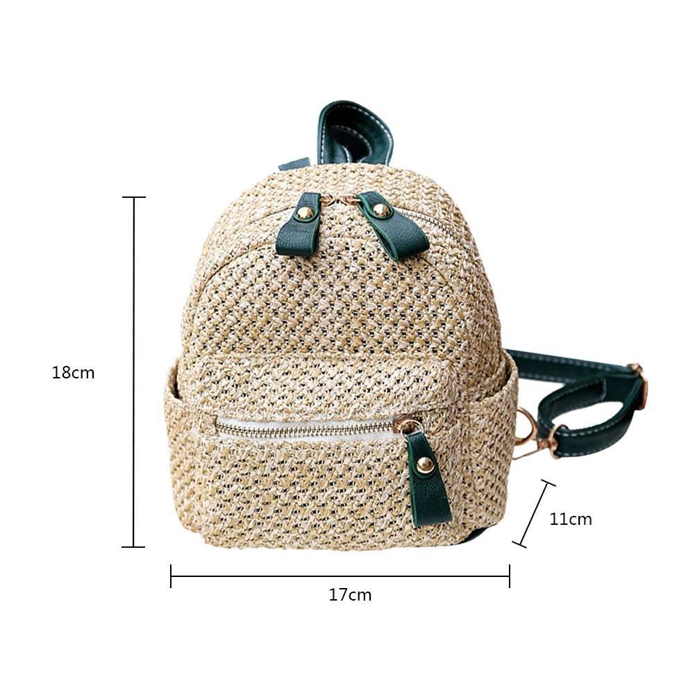 Navigatee New Stroh Rucksack Frauen Mini Umh/ängetasche Mode Weben Hohl Strandtasche