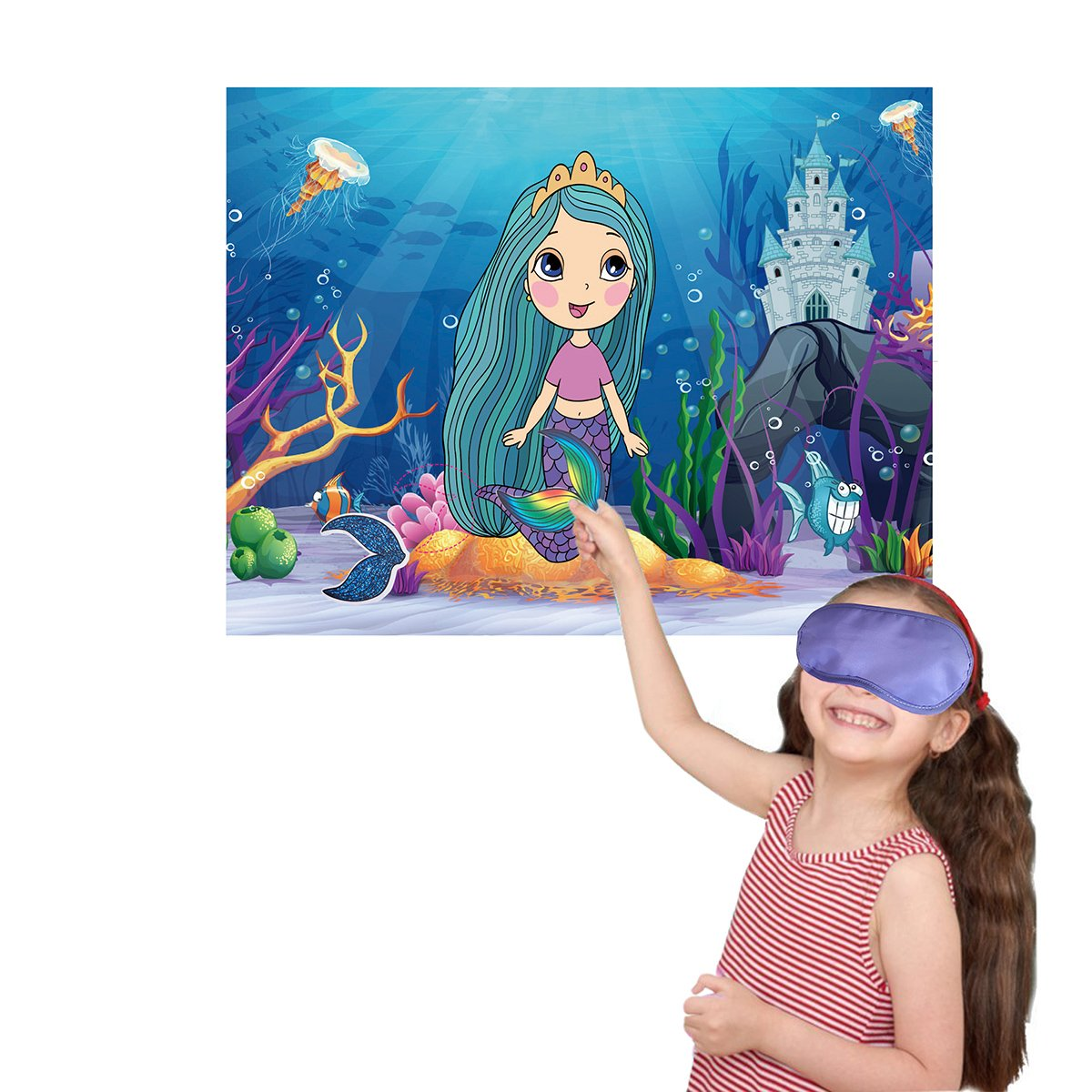 M MISS FANTASY Mermaid Party Supplies Pin the Tail on the Mermaid Under the Sea Party Games for Kids with 24 Reusable Tails Good for Big Parties