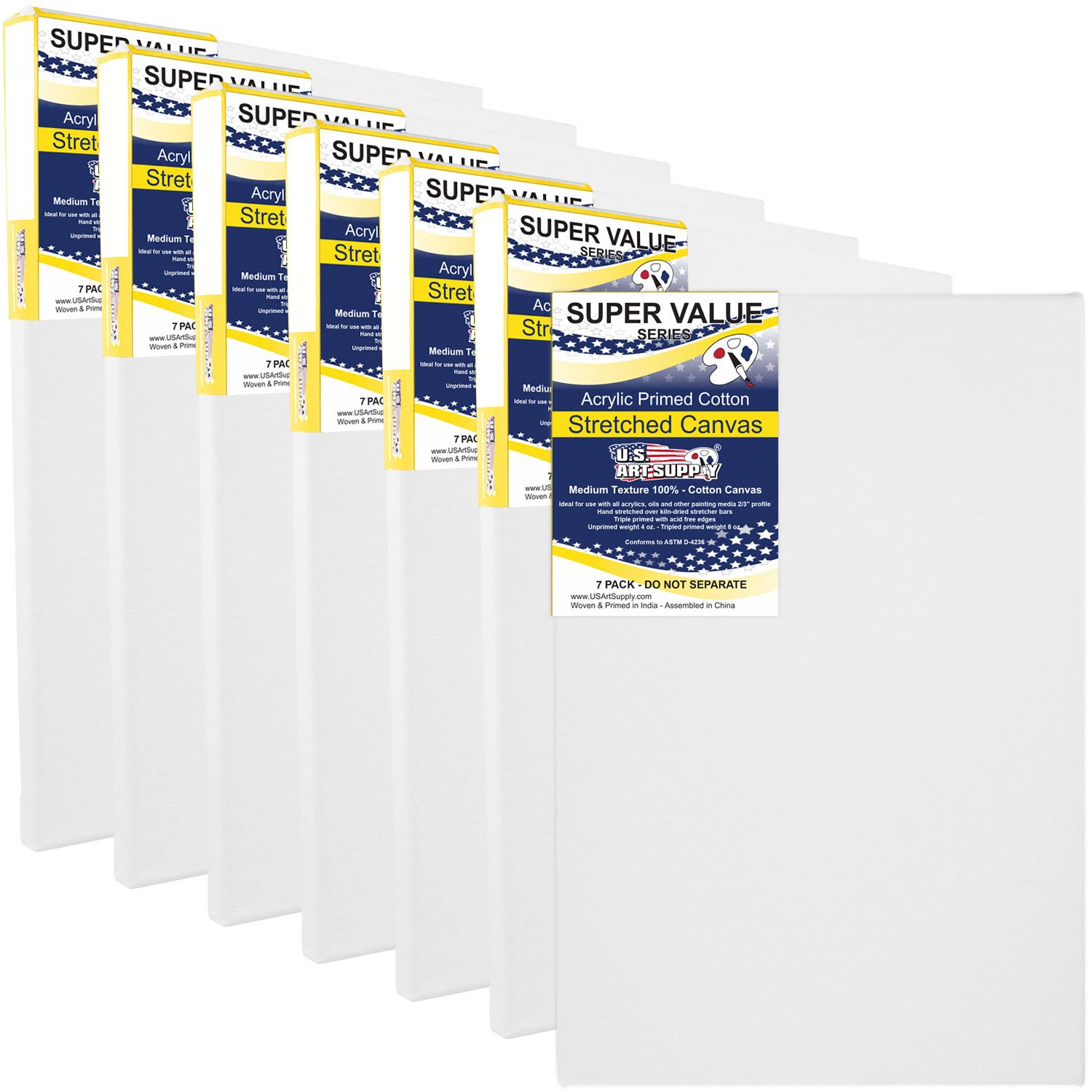 US Art Supply 11 x 14 inch Super Value Quality Acid Free Stretched Canvas 7-Pack - 3/4 Profile Primed Gesso (Super Value Pack of 7 Canvases)