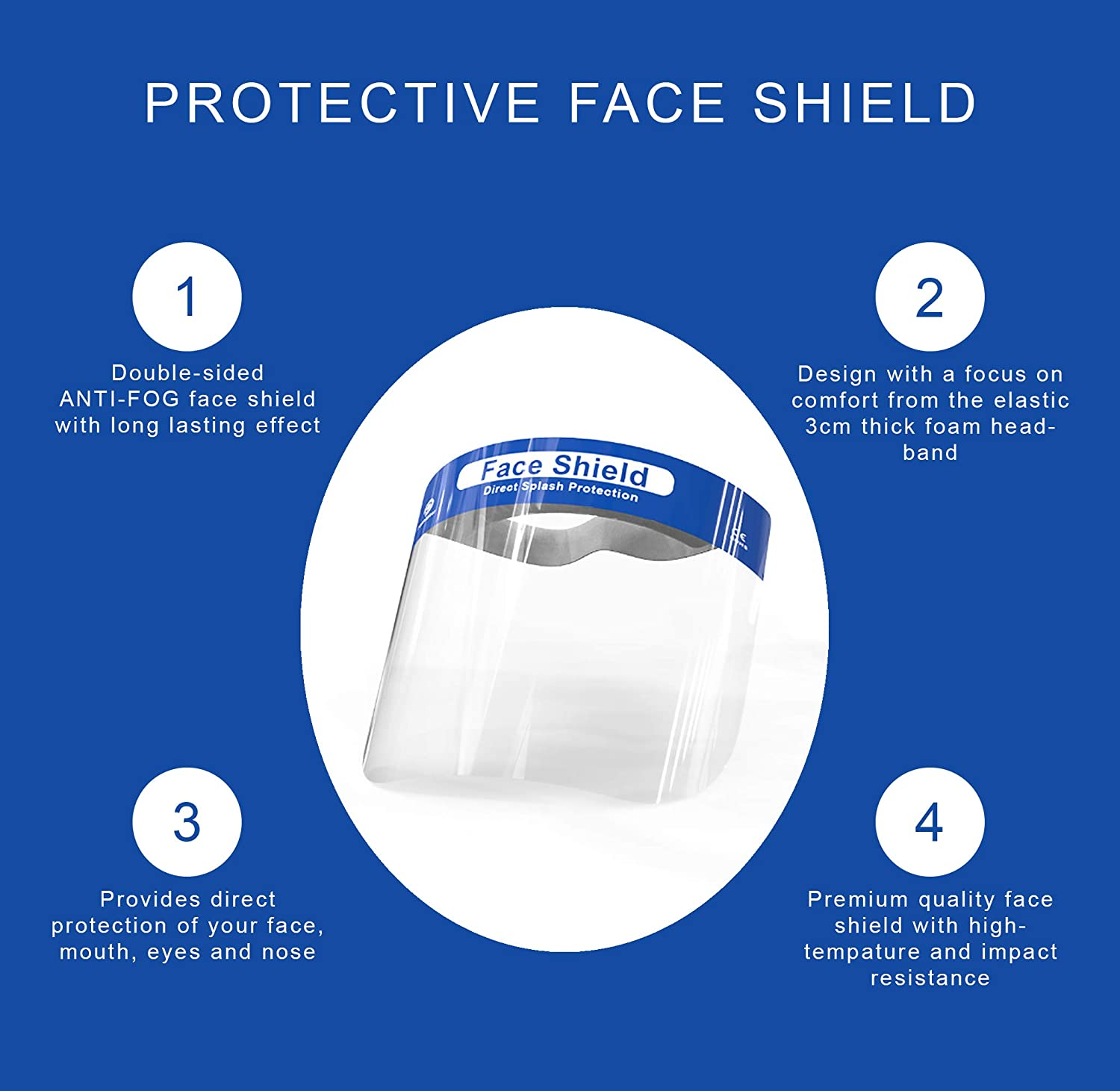 Clear Anti-Fog Lens Shona 10 Pack Safety Face Shield Lightweight Transparent Plastic Shield with Stretchy Elastic Band
