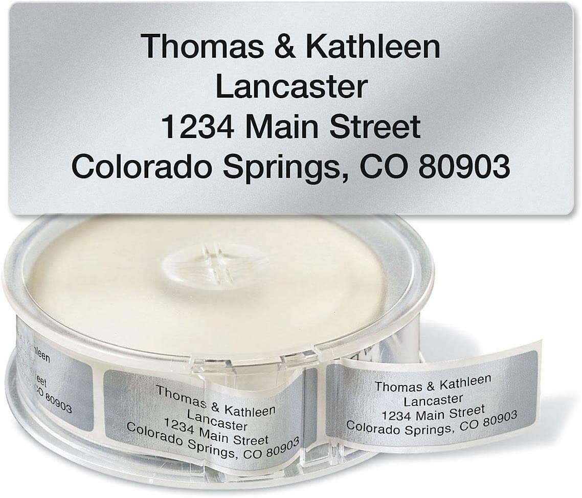 Silver Foil Rolled Address Labels with Dispenser by Colorful Images