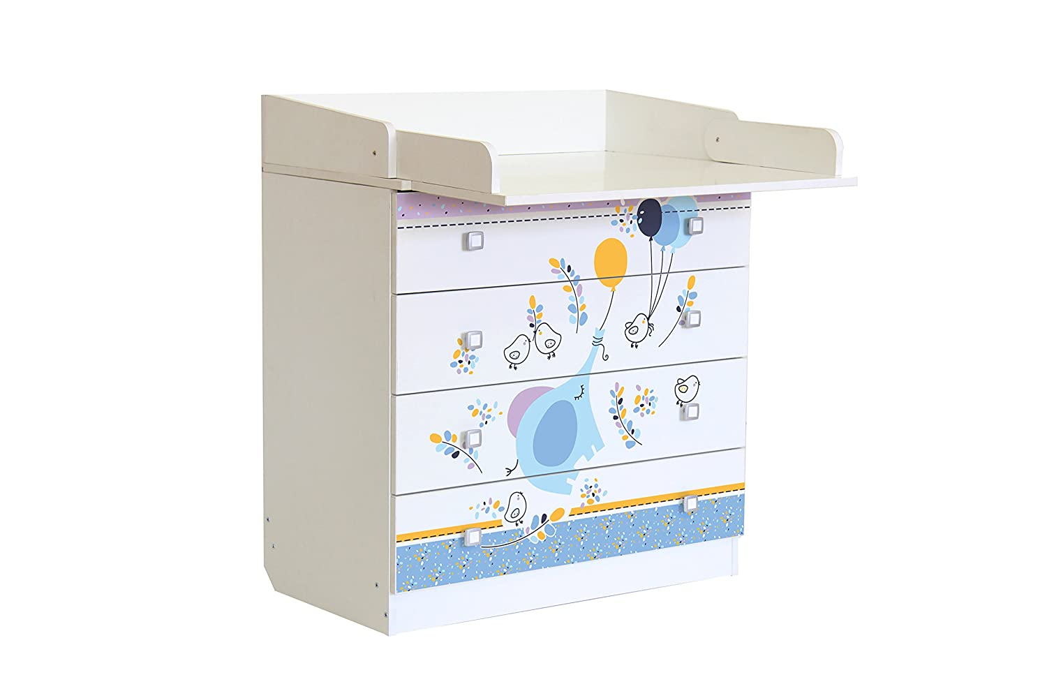 Polini Kids 0001288.9.1 Elephant On Balloons Design Drawer Unit, White Polini Kids_0001288.9.1
