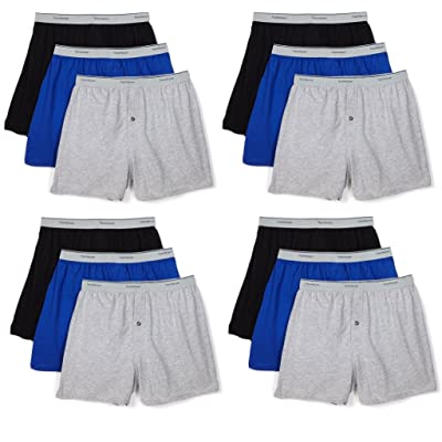 Fruit of the Loom Men's 12-Pack Knit Boxer Shorts Boxers Cotton Underwear at Men's Clothing store