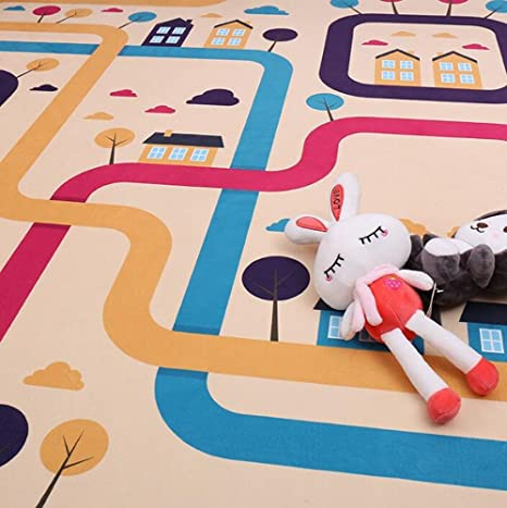 USTIDE Colorful Rainbow Children Rug Soft Crystal Velvet Nonslip Kids Nursery Carpet Home Deco Rug 3.9ftx5.9ft