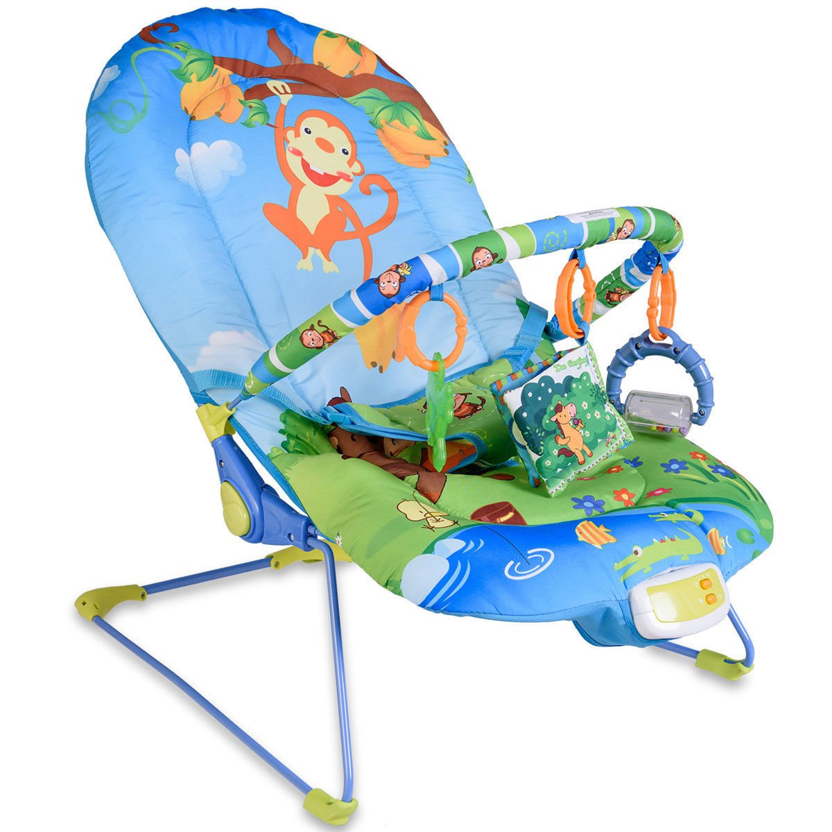 Costzon Baby Rocker Chair, Adjustable Reclining Chair with Music/Vibration Box/Toys, Baby Bouncer (Monkey)