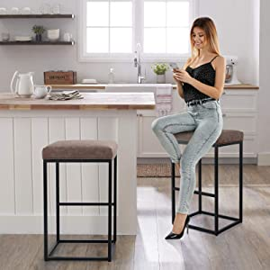 MAISON ARTS Bar Height Bar Stools Set of 2 for Kitchen Counter Backless Industrial Stool Modern Upholstered Barstool Countertop Chair Saddle Seat Island Stool with PU Leather (30 Inch, Brown)