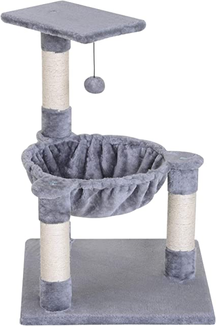 PawHut 26.25 H Cat Tree Condo Furniture Hammock Bed with Natural Sisal Scratching Posts Teasing Toy Grey