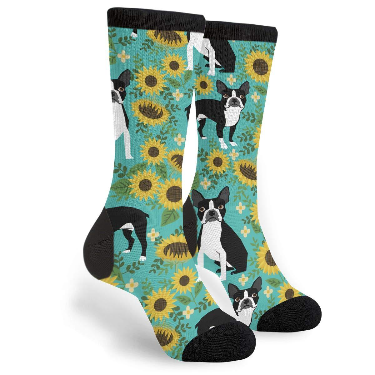 Boston Terrier Sunflower Dogs Socks,Christmas Gifts Unisex Casual Cotton Crazy Crew Socks