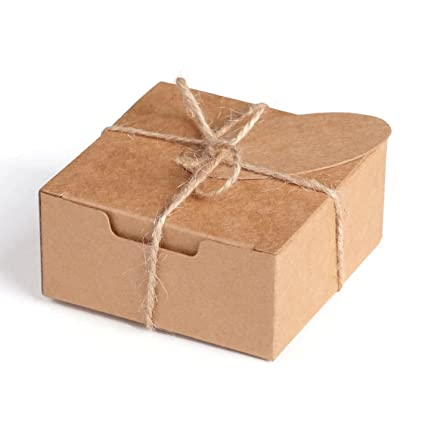 Pack Of 20 Small Square Kraft Natural Eco Gift Boxes String And Tags Included